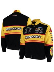 446abf94575 Ryan Blaney JH Design Menards Full-Snap Twill Uniform Jacket - Black Yellow