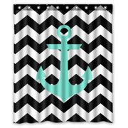 ZKGK Anchor On Zig Zag Chevron Waterproof Shower Curtain Bathroom Decor Sets with Hooks 66x72 Inches