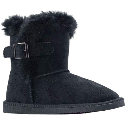 Infant Toddler Girls Winter Casual Buckle Faux Fur Suede Boots Shoes USA SELLER (420SK-Black 12 Little