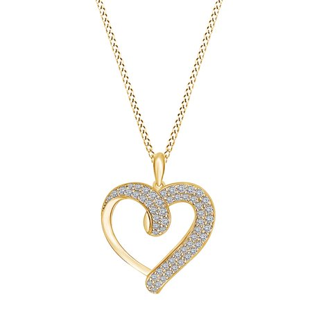 1/2 Carat Round White Natural Diamond Double Row Heart Pendant Necklace 14k Yellow Gold Over Sterling Silver 18