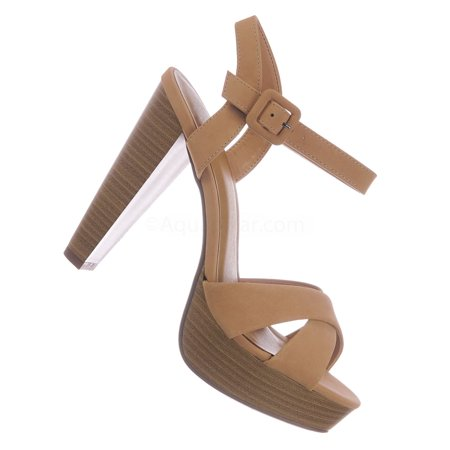 Rancho by Delicious, Stack Block Heel Platform Sandal - Women Quarter Strap Dress (Womens Quarter Strap Sandal)