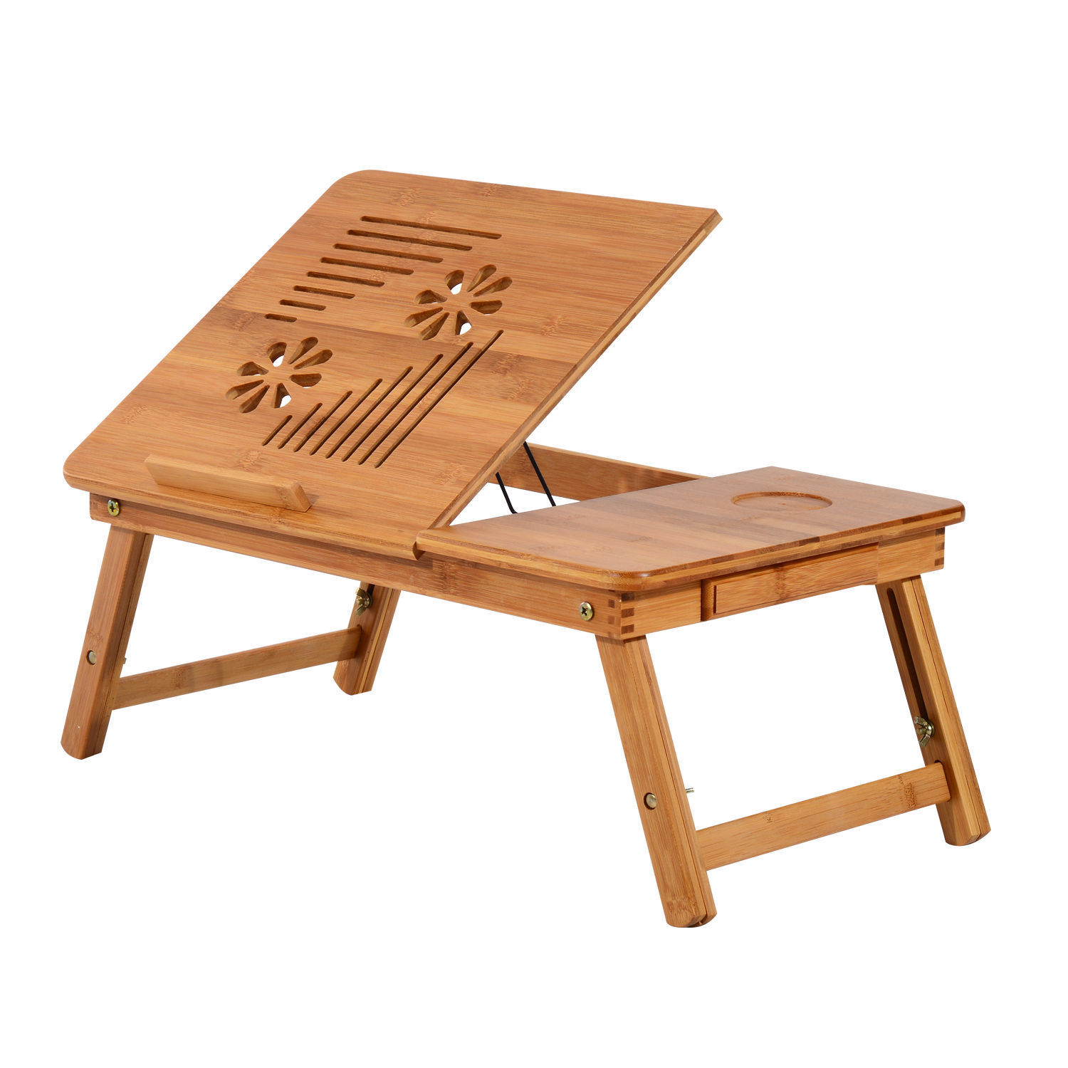 GHP Bamboo Folding Portable Laptop Notebook Table Stand with Height Adjustable Tray