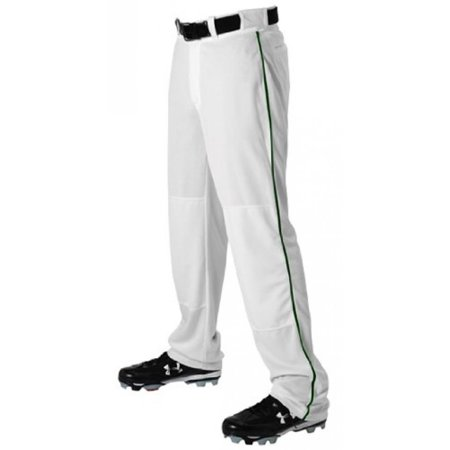 a1be09d4b4f Alleson 605WLBY Youth Baseball Pants With Piping WH DG - WHITE DARK GREEN  YXL - Walmart.com