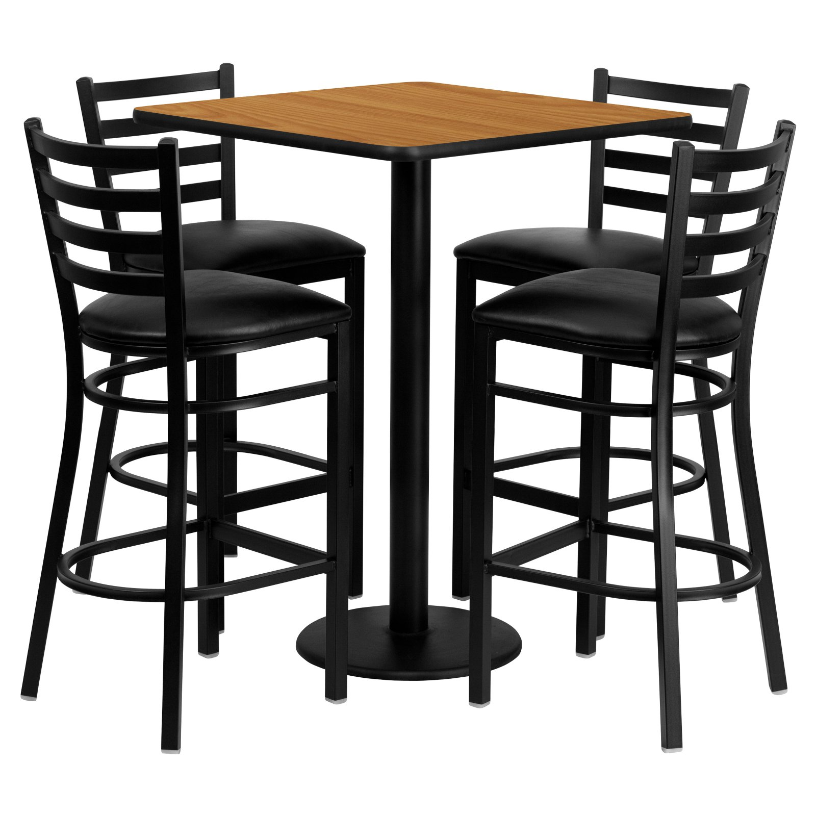 Flash Furniture 30'' Square Natural Laminate Table Set with 4 Ladder Back Metal Barstools, Black Vinyl Seat