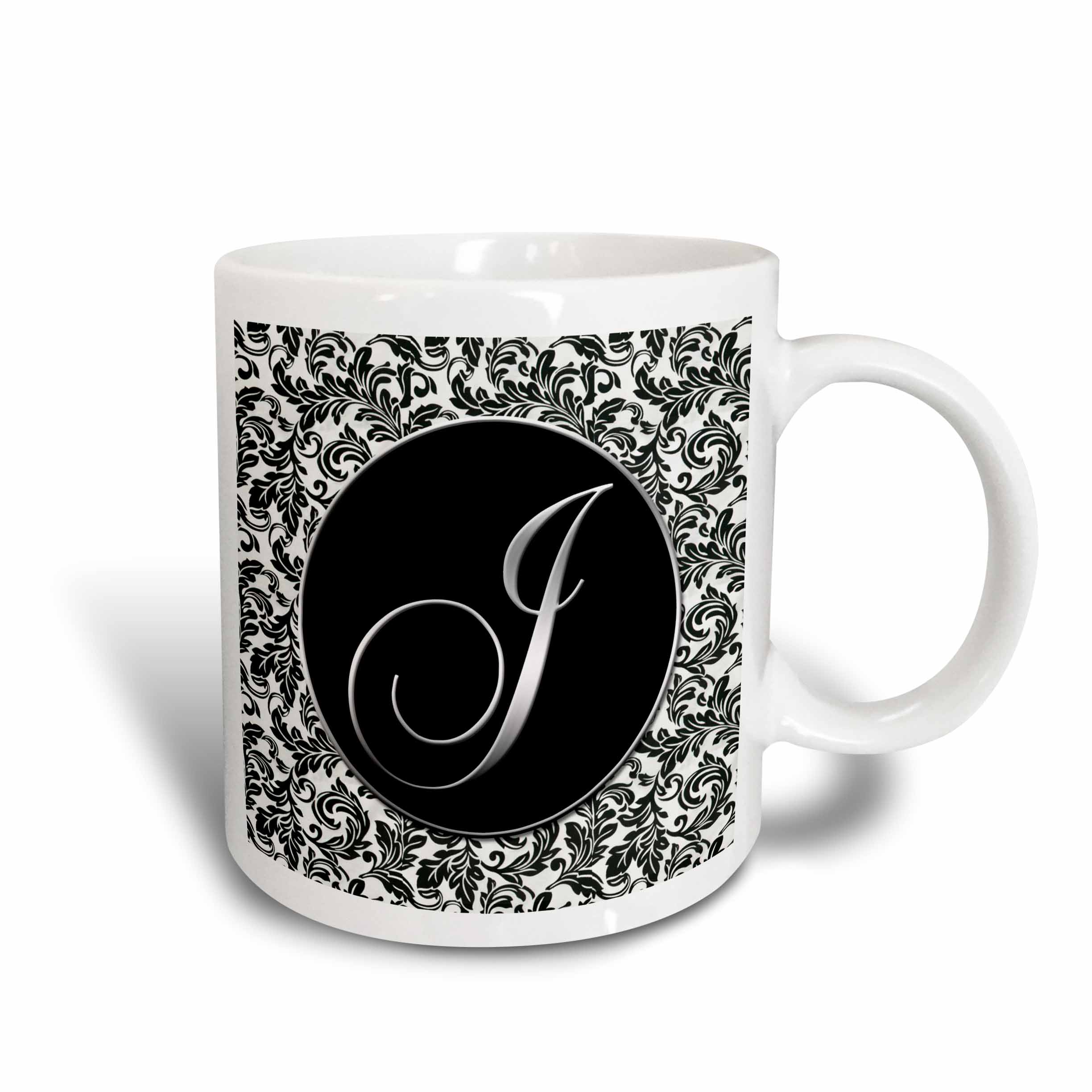 3dRose Letter J - Black and White Damask, Ceramic Mug, 15-ounce