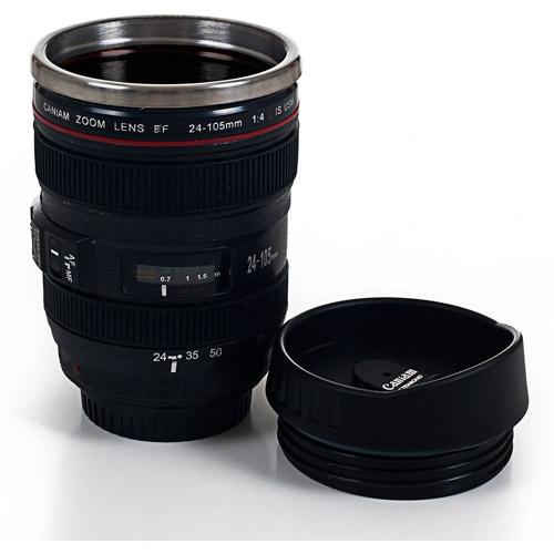 Whetstone Camera Lens Coffee Mug with Lid