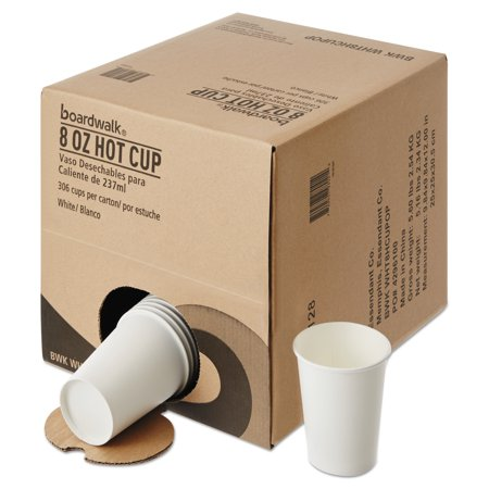 Boardwalk Convenience Pack Paper Hot Cups, 8 oz, White, 306/Carton (White Paper Hot Cup)