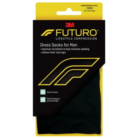 FUTURO Dress Socks for Men, Medium, Black, Firm