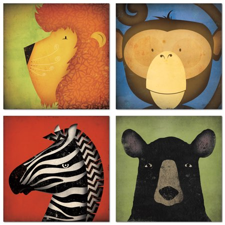 Adorable Black Bear, Lion, Monkey and Zebra Zoo Animals by Ryan Fowler; Children's Room Decor; Four 8x8in Paper Poster Prints](Animal Print Decor)