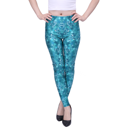 HDE Women's Funky Digital Print Design Graphic Stretch Footless Fashion Leggings (Teal, Large) (Leopard Print Leggings)