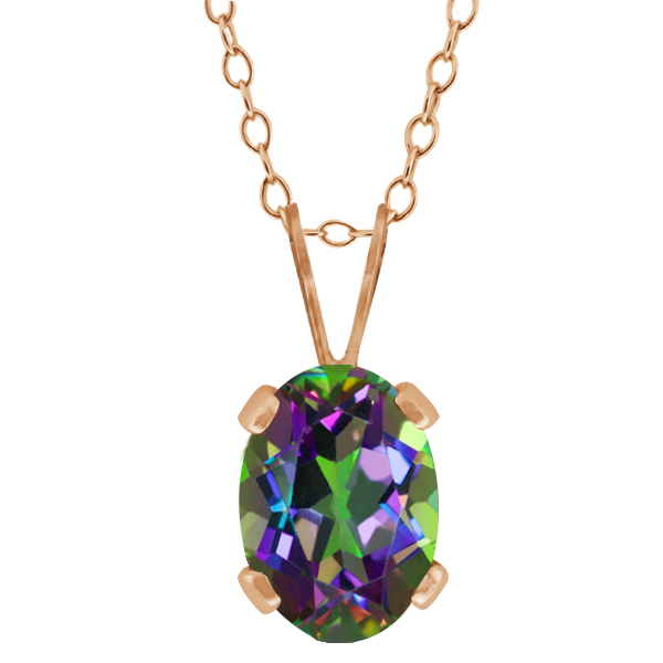 0.95 Ct Oval Shape Green Mystic Topaz Rose Gold Plated Silver Pendant