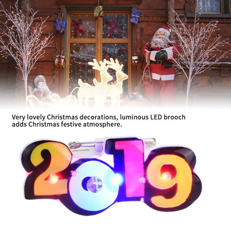 Led New Years 2019 (FAGINEY Christmas Badge Button,LED Flash Badge Button,25PCS Color Number 2019 New Year Christmas LED Flash Badge Button)