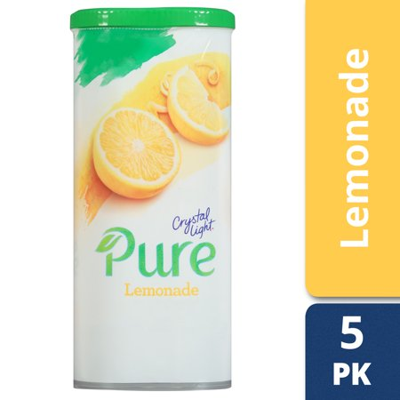 - Crystal Light Pure Lemonade Drink Mix, 5 Pitcher Packets, 2.53 oz Canister