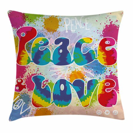 70s Party Decorations Throw Pillow Cushion Cover, Peace and Love Tie Dye Funky Color Splashes Rainbow Abstract Artistic, Decorative Square Accent Pillow Case, 18 X 18 Inches, Multicolor, by Ambesonne ()