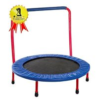Gymenist 36-Inch Kid Trampoline, with Folding Handle Bar, Blue/Red