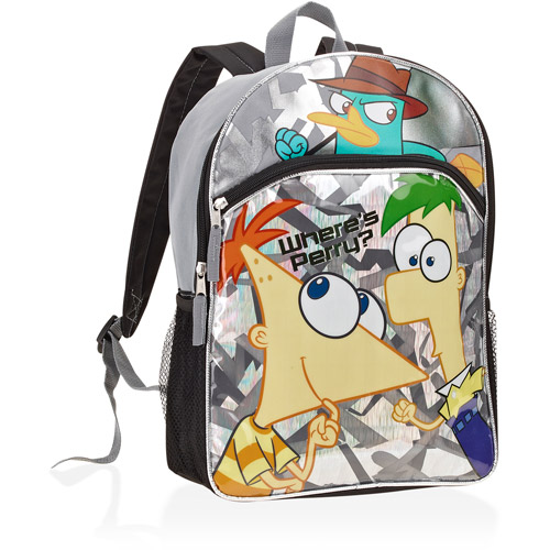 Disney Phineas & Ferb Backpack Silver Where's Perry School Travel Back Pack