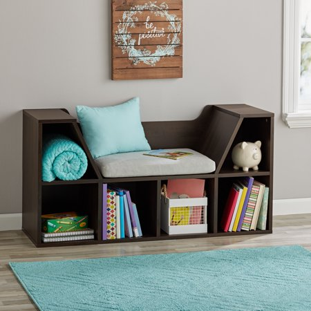 Mainstays Kids Reading Nook and Storage Book Case, Dark Chestnut (Kids Nook)