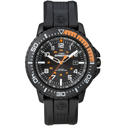 Timex Men's Expedition Uplander Black/Orange Watch, Black Resin Strap