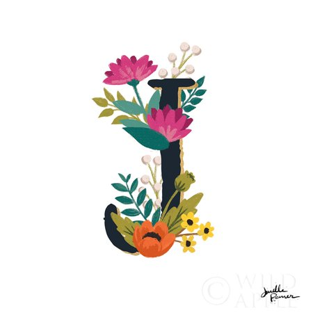 Romantic Luxe Monogram J Black Poster Print by Janelle Penner