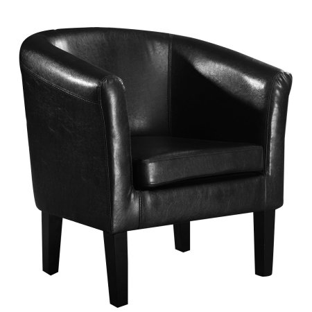 Costway Modern PU Leather Tub Barrel Club Arm Chair Seat Furniture w/ Cushion (Black)