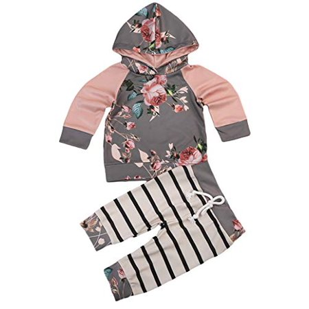 Toddler Baby Girl Fall Outfits Long Sleeve Raglan Hoodies Pull Over Sweatshrits Tops Striped Pants 2PCS Clothes