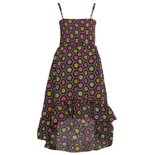 Real Love Little Girls Black Floral Pattern Ruffled Hem Hi-Lo Dress 4-6X