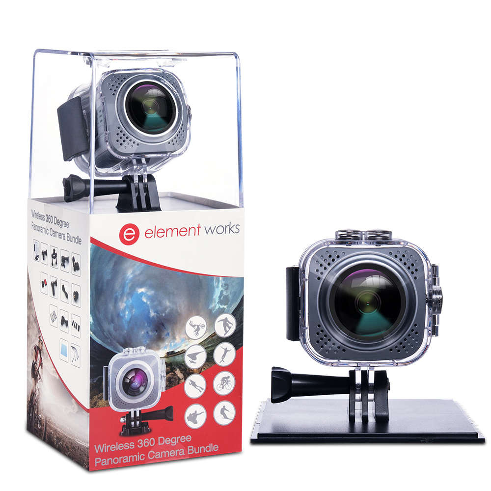 Element Works 360 Degree Digital Hd Waterproof Wifi Video Camera with Tripod and other Accessories ( Black )