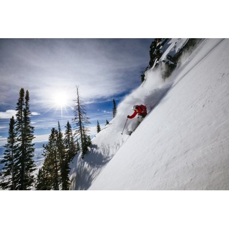 Skiing The Teton Backcountry Powder After A Winter Storm Clears Near Jackson Hole Mountain Resort Print Wall Art By Jay