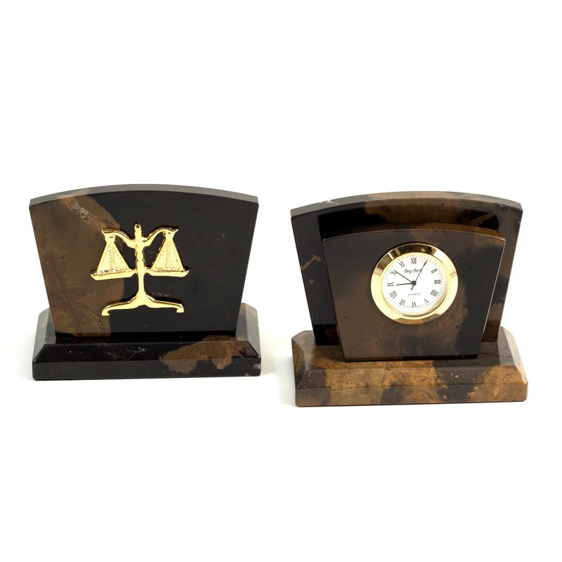"Legal, ""Tiger Eye"" Marble Quartz Clock & Letter Rack"