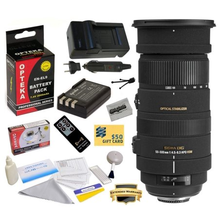 Sigma 50-500mm f/4.5-6.3 APO DG OS HSM Lens (738306) With 3 Year Warranty for Nikon DSLR Camera with EN-EL9 2000MAH, Charger, Cleaning Kit, Remote Control, Mini Tripod, Microfiber Cloth, $50 Gift Card
