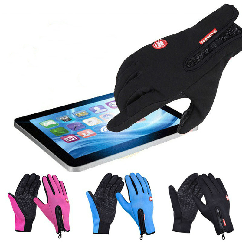 U-MAX Fleece Touch Screen Motorcycle Gloves, S-XL, Blue/Pink/Black