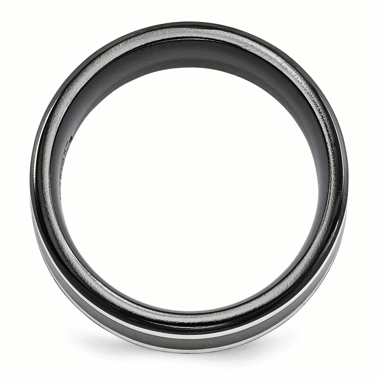 Edward Mirell Black Titanium 14k White Gold 9mm Wedding Ring Band Size 13.00 Man Classic Flat Precious Metal Fine Jewelry Gift For Dad Mens For Him - image 4 de 6