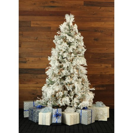 Fraser Hill Farm 10' Flocked Snowy Pine Artificial Christmas Tree with Smart String Lighting