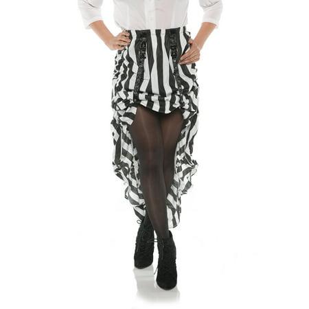 (Steam Punk Womens Adult Victorian Cosplay Black White Striped Skirt)