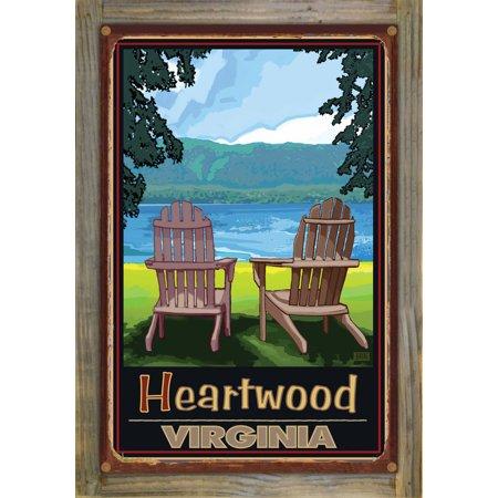 Heartwood Wood Duck (Heartwood, Virginia Adirondack Chairs Lake Rustic Metal Print on Reclaimed Barn Wood by Joanne Kollman (12