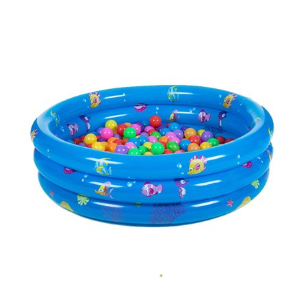 Inflatable Kiddie Pool 3 Ring Round Swimming Pool Ball Pit ,Anti-skid  Bottom With Double Layer Bubble Designed