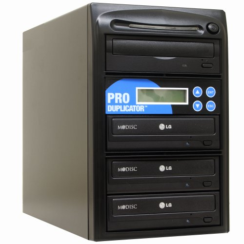 Produplicator 1 to 3 24X CD DVD Duplicator Copier with 128MB Buffer Speed (Built-in M-Disc Support Burner) + FREE Nero E