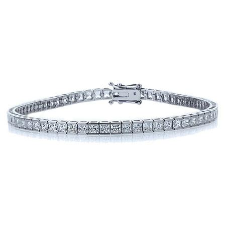 14K White Gold 3mm Princess CZ Channel Set Tennis Bracelet (Available 7 & 7.5 Inches)