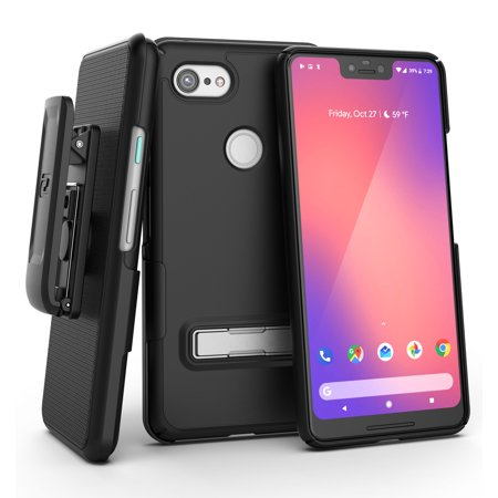 - Encased Slimline Pixel 3 XL Belt Clip Case, Ultra Slim Fit Protective Cover with Metal Kickstand & Holster Shell Combo (