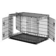 """ALEKO SDC-3D36BDIV 36"""" 3-Door Folding Suitcase Dog Cat Crate Cage Kennel With Abs Tray And Divider"""