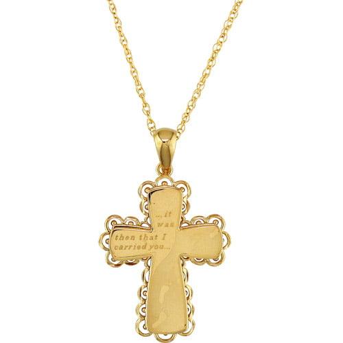 "18kt Gold-Plated Cross Pendant, 18"""