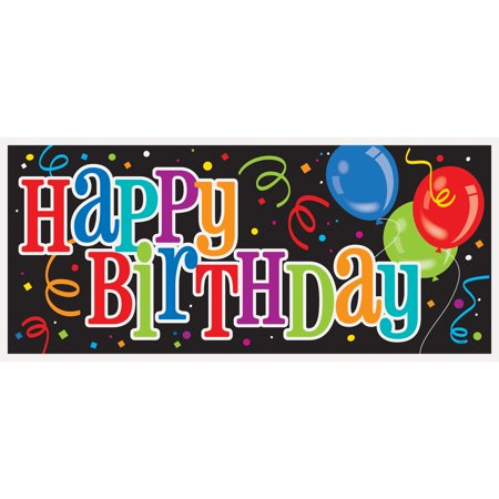 Happy Birthday Plastic Wall Banner, 60ft x 27ft