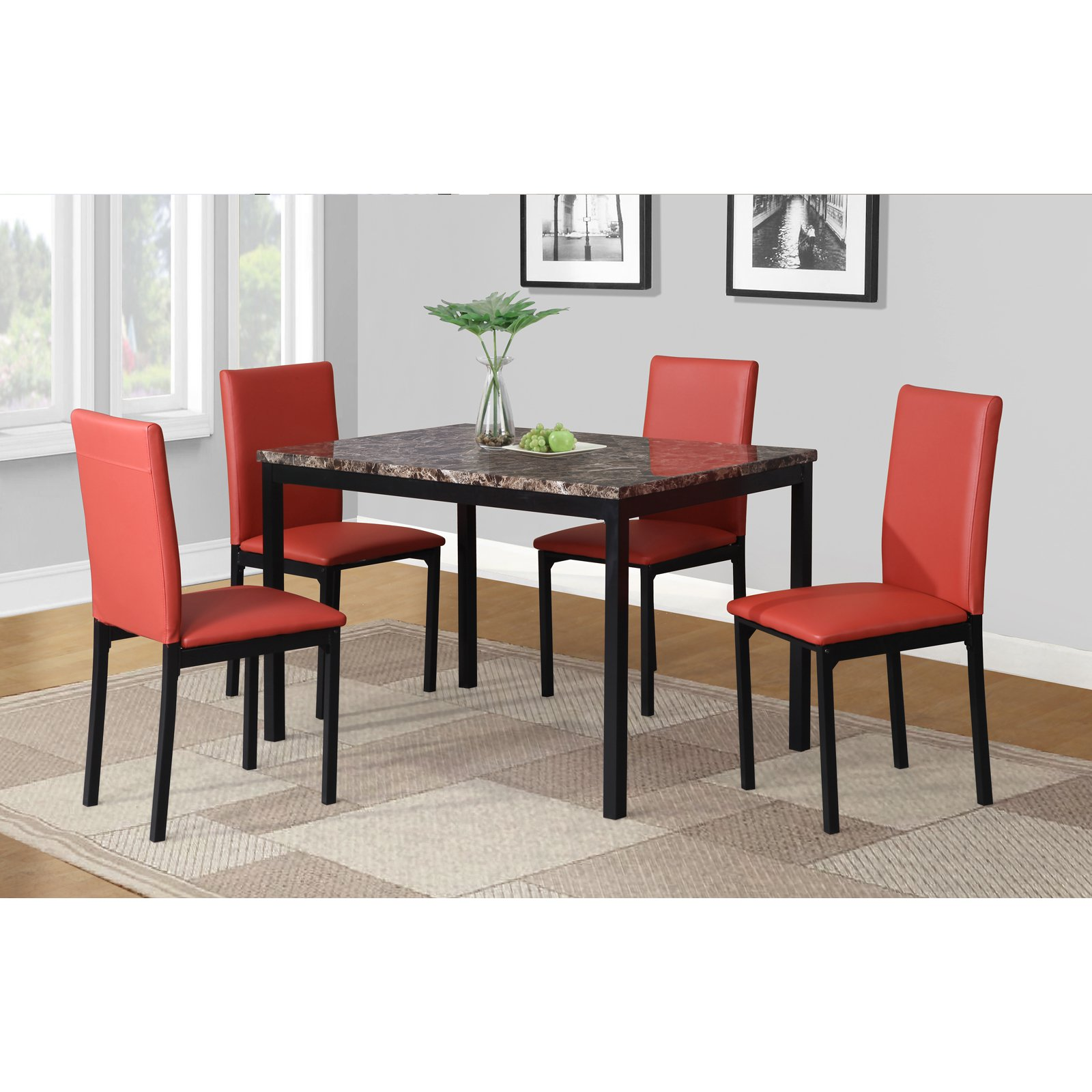 Roundhill Furniture Citico 5 Piece Metal Faux Marble Dining Set