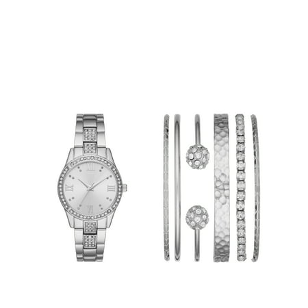 Ladies' Silver Watch and Stackable Bracelet Gift Set (Tweety Bird Watch For Women)