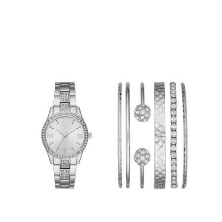 Ladies' Silver Watch and Stackable Bracelet Gift