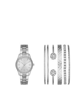 Ladies' Silver Watch and Stackable Bracelet Gift Set