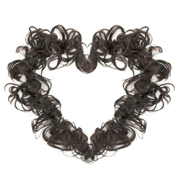 Dark Brown Hair Extensions Wedding Elastic Band Curly Updo