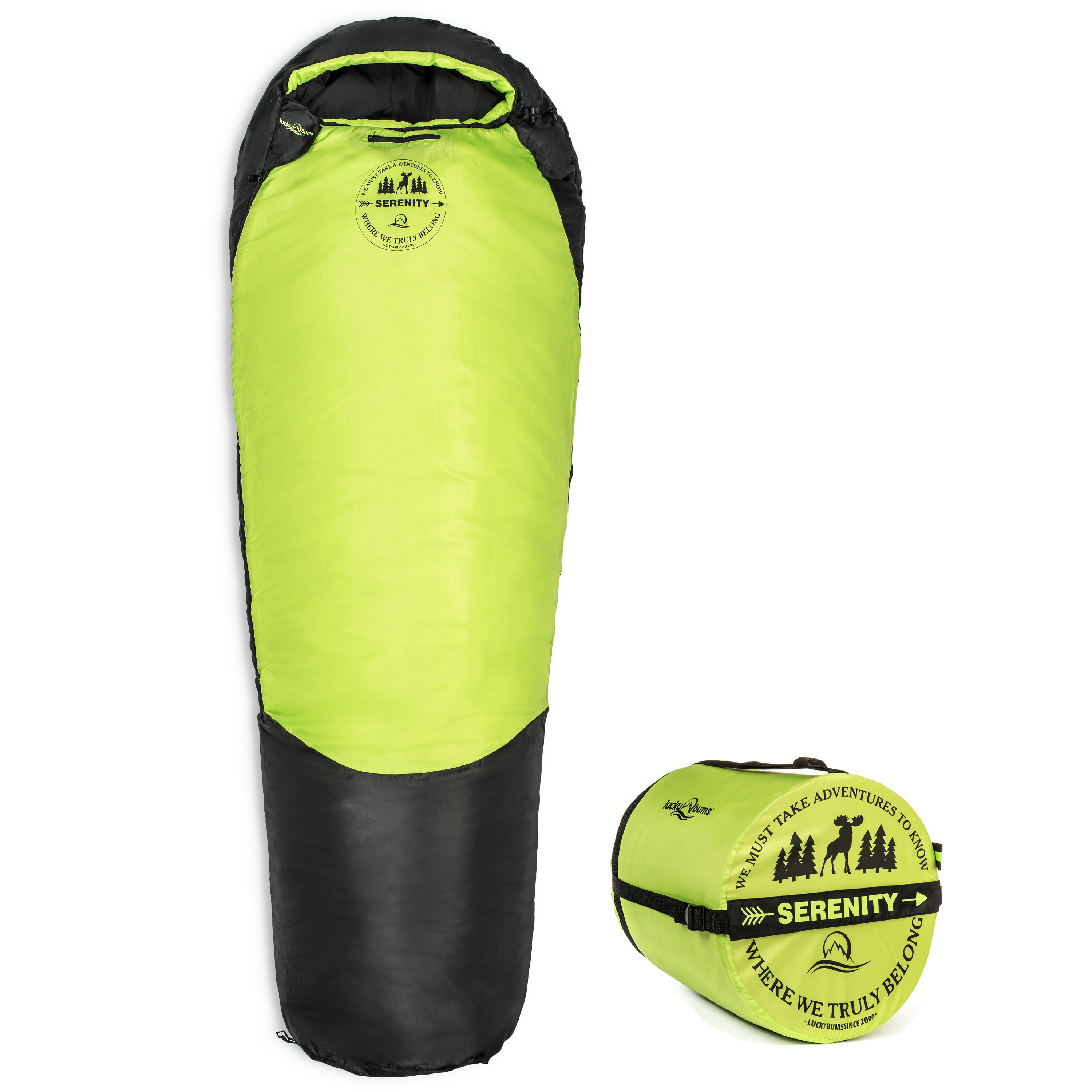 Lucky Bums Youth Serenity II 25F/-4C Temperature Rated Mummy Style Sleeping Bag, Compressing Carry Bag Included, Blue