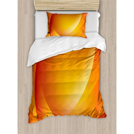 (Orange Twin Size Duvet Cover Set, Colorful Smooth Twist Lines Sun Abstraction Energy Flow Waves Curves Art, Decorative 2 Piece Bedding Set with 1 Pillow Sham, Dark Orange Yellow, by Ambesonne)