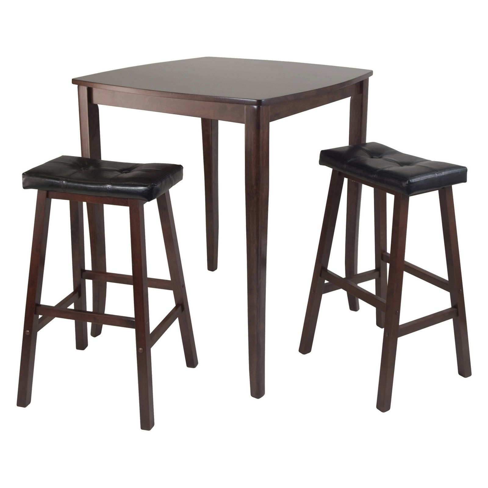 3-Pc Inglewood High/Pub Dining Table with Cushioned Saddle Stool